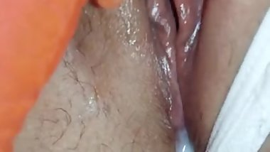 Close-up cumming on vibrator, make silicone pussy